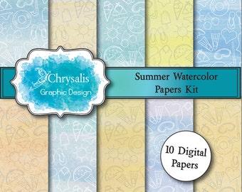 SUMMER watercolor digital scrapbook papers (set of 10)
