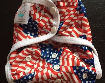 American Flag Polyester PUL Cloth Diaper Cover With Aplix Hook & Loop Or Snaps You Pick Size XS/Newborn, Small, Medium, Large, or One Size