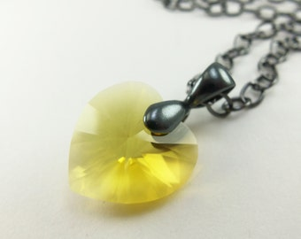 Yellow Heart Necklace Yellow Crystal Necklace Yellow Jewelry Swarovski Crystal Heart Necklace Heart Pendant Dark Silver Gunmetal