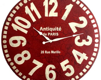Large Wall Clock 36 inch Red Murillo PARIS - tuscan antique style big french style numbers