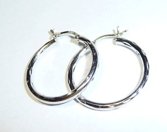 Sterling Silver Diamond Cut Hoop Earrings on Etsy