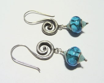 Sterling Silver Hill Tribe Fancy Earwire and European Sterling Center Bead Swarovski Crystal Earrings on Etsy