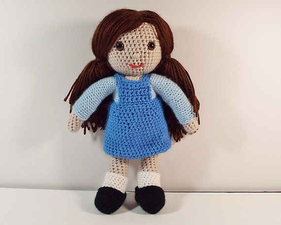 Crochet Hair Doll : Crochet girl doll, 12 tall, brown hair, brown safety eyes, crochet ...