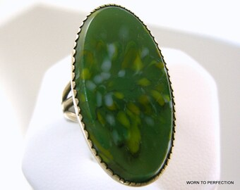 Beau Sterling Silver Ring with Green Glass Stone
