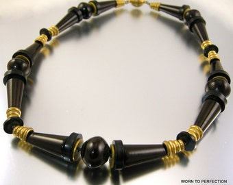 Art Deco Necklace Black and Dark Brown Bakelite and Brass Spacers