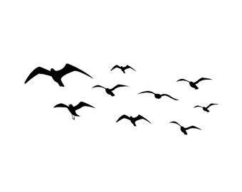 Seagull wall decal, ocean seagull, baby nursery, den wall decor, bedroom, dorm, girls room, teen, playroom, flying birds,  28 X 76 inches
