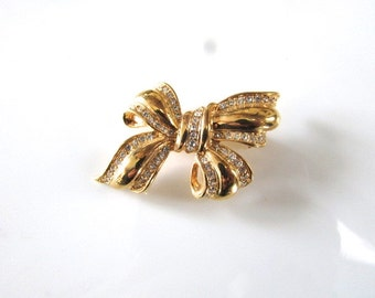 Roman Rhinestone Bow Brooch Pin Gold Tone Mothers Day