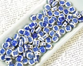 Blue and White Ceramic Beads 60% off, qty 101