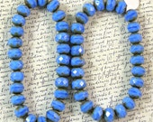 Sky Blue Fire Polish Rondelle Glass Beads 60% off, qty 50