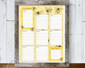 Planner Bee Hexagon - Weekly Printable