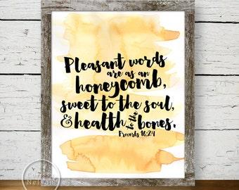 Honeycomb Proverb Art - 8x10 Printable