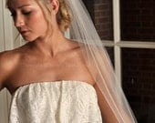 Fingertip Veil with Raw Cut Edge - Ivory, White, Diamond White, Champagne, Blush