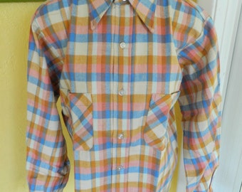 Flannel 1970s vintage long sleeve shirt size large