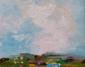 Farmland II - original abstract impressionism landscape painting on 6x6 inch canvas by Judith Rhue