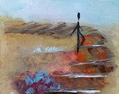 Take That Step - Original abstract oil painting on 6x6 inch canvas by Judith Rhue