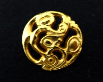 Gold Art Noveau Style Metal Button (00096)*Available in Quantity*
