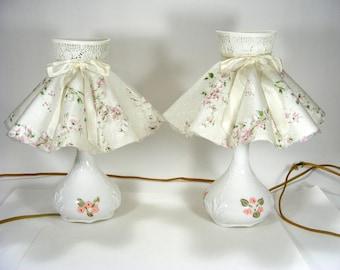 Bedroom Lamps White Glass Base Light Pink Flowers Ruffled Lamp Shade