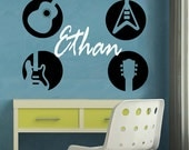 Wall Decal Monogram GUITARS Childrens Wall Decal EXTRA LARGE