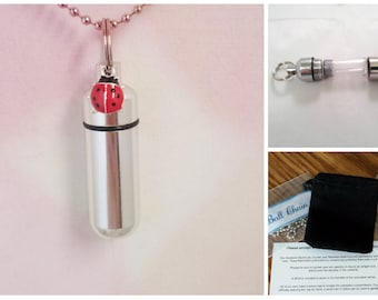 "Complete Set - Red LADYBUG Cremation Urn on 24"" Necklace  - Custom Hand Assembled.... with Velvet Pouch and Fill Kit"