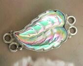 Vintage Glass Cabochon Leaf Bracelet Finding Sterling Silver Settings Component