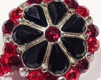 Swarovski Red Crystal & Black Rhinestone Crystal Embellished ID Badge Reel