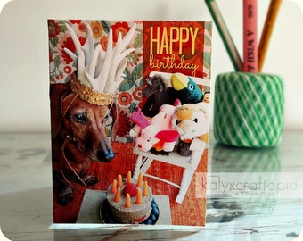 Dachshund Birthday Card - The Antler King