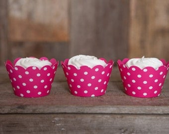 12 Hot Pink Polka Dot REVERSIBLE Cupcake Wrappers - Solid Pink & Polka Dot Cupcake Wrappers 2 in 1! Perfect for Birthdays and Weddings