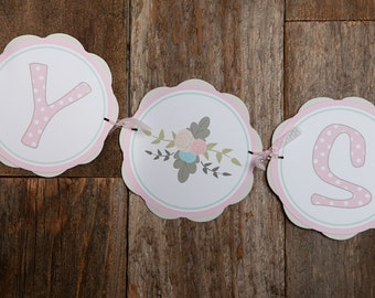 BABY SHOWER Banner - Pink Floral Baby Shower Banner - Baby Girl Shower Decorations - Pink Flowers - Flower Shower - Pink Floral Baby Shower
