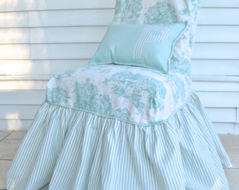 Toile and Ticking Stripe Light Turquoise Slipcover