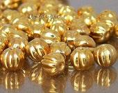 24K Gold Melon Round Czech Glass Beads 5mm Fluted 25
