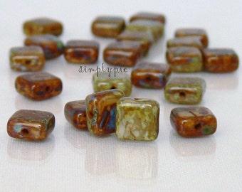 Tuscany Picasso 6mm Square Czech Glass Beads 25