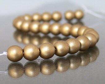 Satin Gold, Czech Glass Beads, 6mm 25 Round Druk Matte Gold Beads
