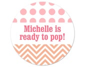 Custom Baby Shower Favor Stickers - Ready to Pop - Personalized Labels - Dots & Chevrons - Shower Favor Labels - Colorful Shower Stickers