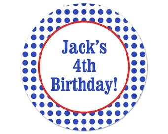 Colorful Birthday Party Stickers - Custom Favor Labels - Personalized Stickers - Dots Label - Party Favor Sticker - Birthday Labels