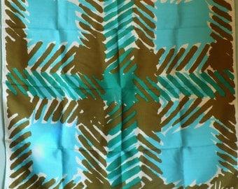 Vera Neumann Silk Scarf Blue Olive White Graphic 1970's label