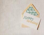 Happy Birthday Gold Green Ikat Envelope Liner by Dodeline Design
