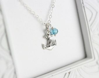 Personalized Silver Birthstone Necklace - Custom Birthstone Necklace - Silver Anchor Necklace - Silver Sailor Necklace - Silver Anchor
