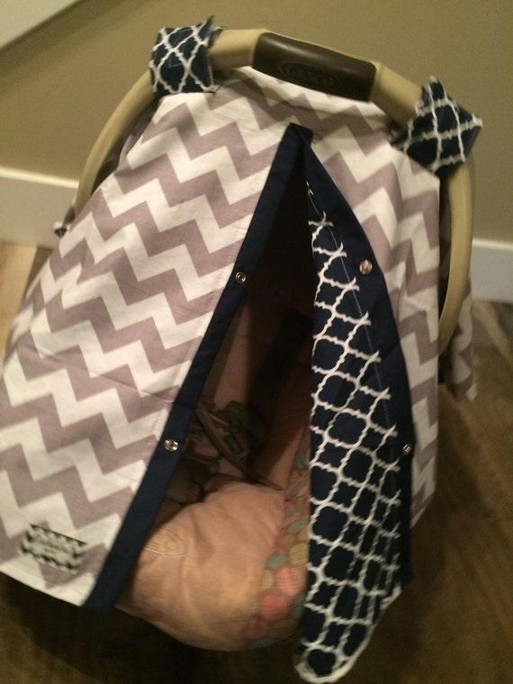 Boy Car seat canopy Grey and Navy Blue / Car seat cover / car seat canopy / carseat cover / carseat canopy / nursing cover