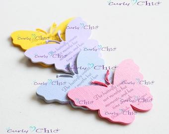 """135 Personalized Butterflies III Tags Size 3"""" -Butterflies Labels -Personalized Butterflies Tags -Custom Paper Butterflies die cuts -"""