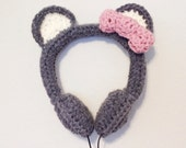 Gray Bear w/Pink Bow Crocheted Headphones