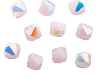 Clearance Sale --  Swarovski crystal beads 4mm BICONE 5301 Crystal Beads Rose Alabaster AB -- 24 pieces