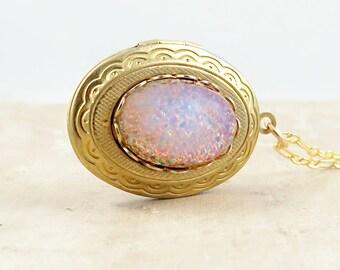 Mothers Day Locket Pink Opal Locket Bridesmaid Necklace Photo Locket Pink Opal Necklace Gift for Her
