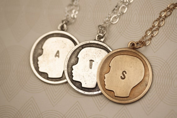 Small Boy Custom Initial Pendant, Personalized Silver Necklace, Letter Necklace, New Mother Gift, Silhouette Boy Necklace