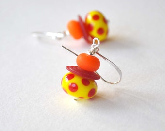 Yellow Earrings, Polka Dot Earrings, Lampwork Earrings, Glass Bead Earrings, Whimsical Earrings