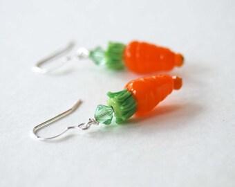Carrot Earrings, Lampwork Glass Earrings, Orange Earrings, Food Jewelry, Whimsical Earrings, Easter Earrings, Spring Jewelry