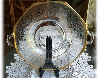 Lotus Georgian 889 Handled Octagon Platter Heavy Gold Trim Feather Scroll Band Elegant CAKE PLATE