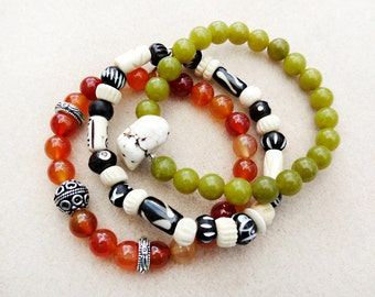 Stack Mala Style Bracelets, Red Orange Carnelian, Olivine Green, Black and Cream Batik Bone, Zen, Tribal, Stretch Handmade Bracelet Jewelry