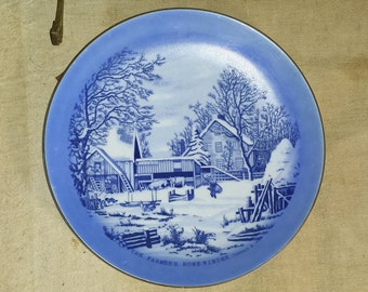 Vintage Decorative Porcelain Plate Blue and White Currier & Ives Farmer's Home - Winter