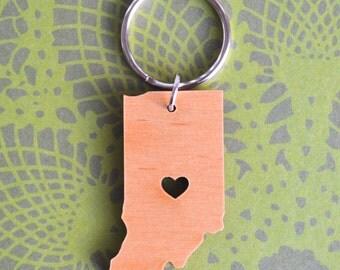 Indianapolis, Indiana Wood Love Key Ring