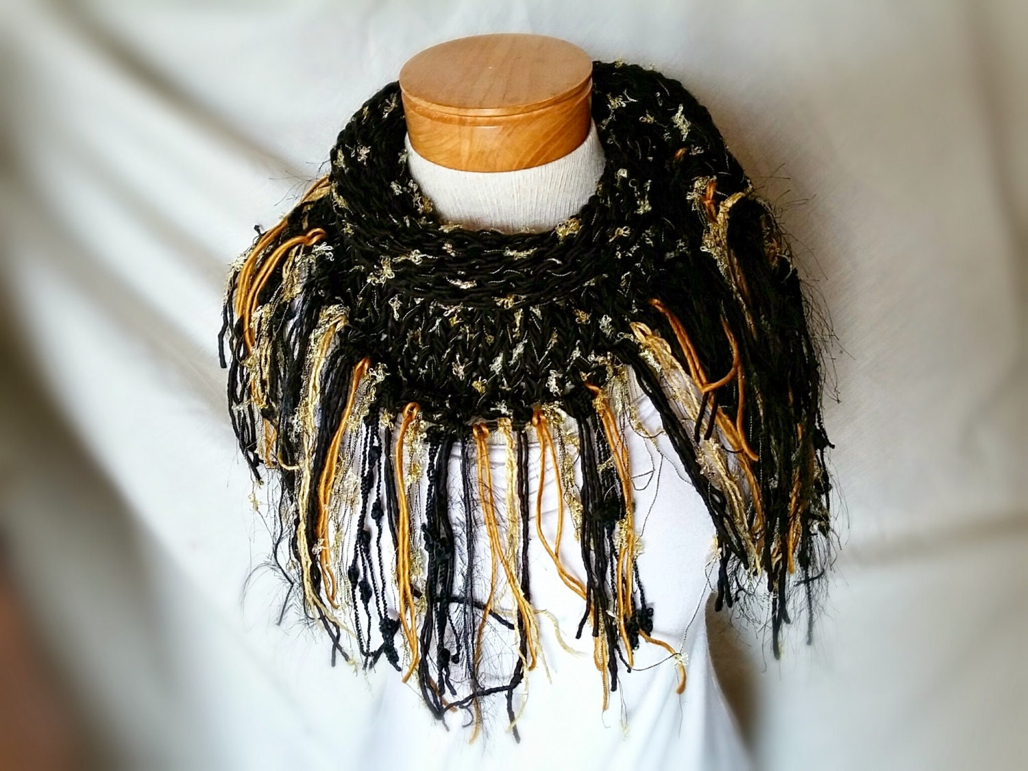 black and gold scarf triangle scarf knit by